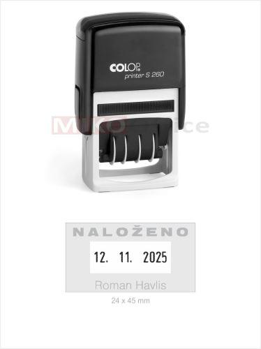 Printer S 260 - držák černý - datumové s textem - otisk 24 x 45 mm - polštářek černý