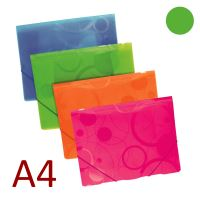 KARTON P+P 3 klopá složka A4 PP s gumou NEO COLORI - zelená