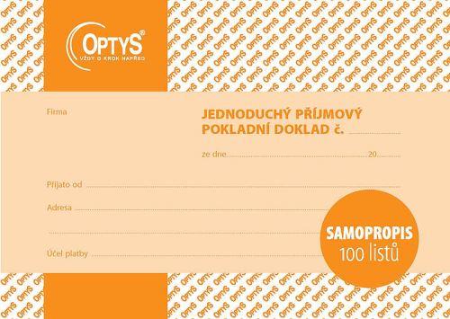 OPTYS 1302 Příjmový doklad - A6 - jednoduchý - samopropisovací - 100 listů