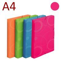 KARTON P+P Krabice na spisy A4 s gumou NEO COLORI - růžová