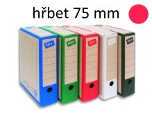 HIT OFFICE Archivační krabice BOARD COLOUR A4, hřbet 7,5 cm - červená
