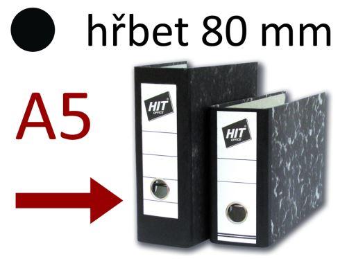 HIT OFFICE Pořadač pákový Classic na výšku, A5, hřbet 80 mm - černý mramor