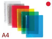 KARTON P+P Pořadač A4/15 PP 4 kroužkový, hřbet 20 mm, průhledný - červený