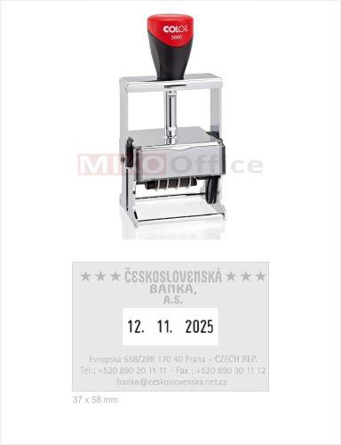 COLOP Printer 3660 - datumové s textem - otisk 37 x 58 mm - polštářek černý