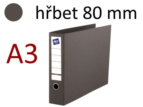 HIT OFFICE Pořadač pákový na šířku, A3, hřbet 80 mm - tmavě šedý