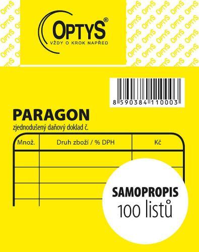 OPTYS 1100 Obchodní paragon - 7,5 x 9,5 cm - samopropisovací