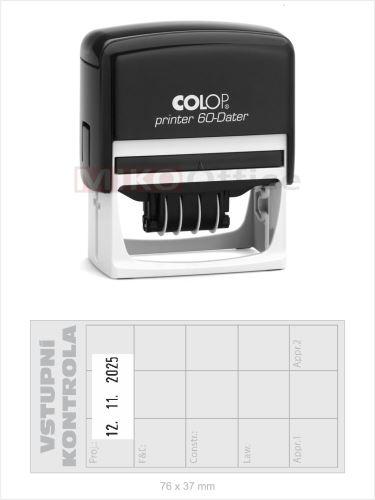 Printer 60-Dater H - držák černý - datumové s textem - otisk 76 x 37 mm - polštářek černý