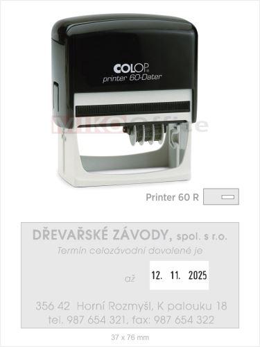 Printer 60-Dater R - držák černý - datumové s textem - otisk 37 x 76 mm - polštářek černý