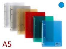 KARTON P+P Pořadač A5/20 PP 4 kroužkový, hřbet 25 mm, průhledný - modrý