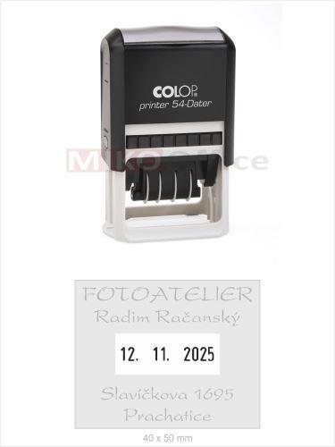Printer 54-Dater - držák černý - datumové s textem - otisk 40 x 50 mm - polštářek černý